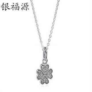 Heart Clover 92.5 Sterling Silver Necklace