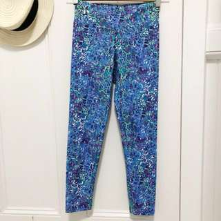 Dharma Bums pattern gym yoga workout pants leggings s Australian purple blue green worn once print leopard as new no flaws