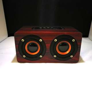 [In Stock] Classic Dark Brown Wood Wireless Bluetooth Speaker with Strong Bass