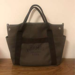Hermes Sellier Paris Groom Bag Canvas Khaki