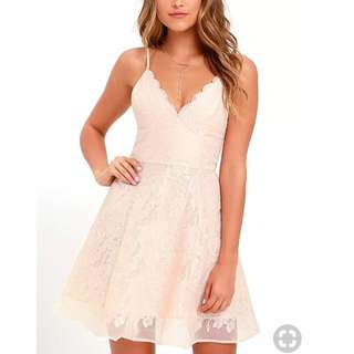 "BNWT Keepsake sz M pink pastel ""Sundream Lace Mini Dress Shell"" wedding party"