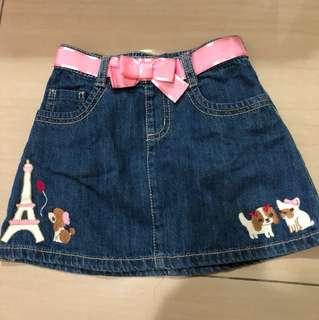 Embroidered girls denim skirt