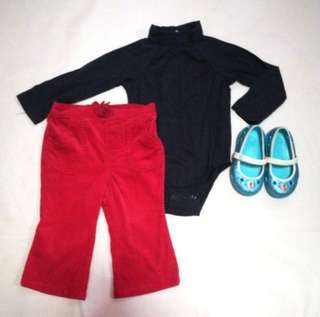 Black Onesie and Red Corduroy Pants for Baby Girls