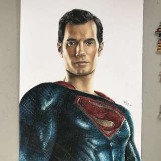 My Superman colour portrait drawing
