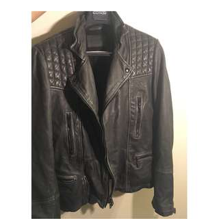 ALL SAINTS Men's Cargo Black motorcycle leather jacket