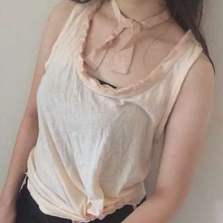Nude tank top with choker