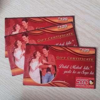 3 Pcs Php120 Sogo Gift Certificates