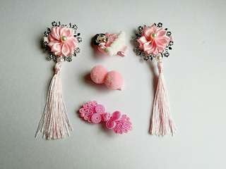 CNY Baby / Toddler Hair Clips Set ~ Pink