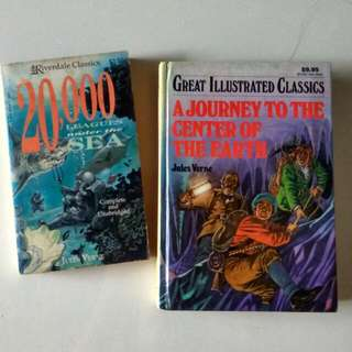 $1.9 jules verne journey to the centre of the earth 20,000 leagues under the sea classics 2books$3.80 (or$3.70each)
