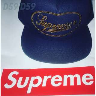 Supreme studded Script Logo 5-Panel Navy💙