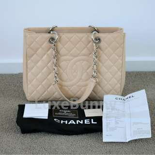 Authentic Chanel GST tote in beige caviar leather