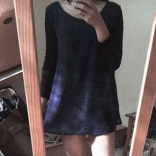 長版毛衣 深藍 小洋裝