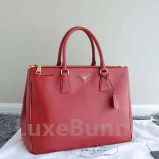 Authentic Prada Saffiano Lux double zip large tote