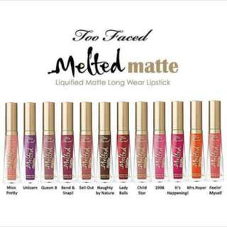 Too Faced Best Seller Melted matte warna Sell Out (1 pcs only)