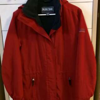red fleece lined coat small