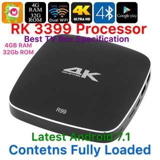 Best TV Box Specification R99 RK3399 Rockchip Hexa-Core 4K Android TV Box with 4GB RAM, Dual-Band WiFi, DLNA, 32GB ROM