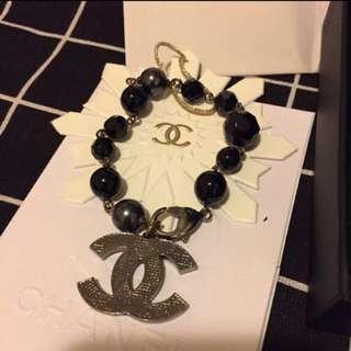Chanel 黑色 手鏈 銀色 大Logo bracelet Full set 有單