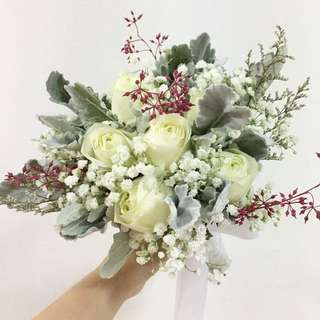 White Roses with Baby Breath and Silver Leave Bridal Bouquet with Mix Fillers