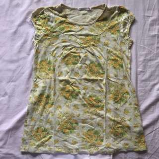 Uniqlo yellow floral shirt / blouse