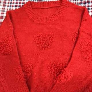 紅色愛心圖形毛衣 胸65長65 穿寬鬆版