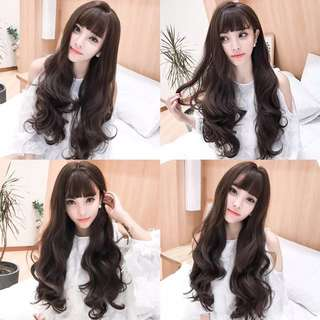 Wig female long curly hair big wave net red hair fluffy natural invisible trace cute simulation scalp wig