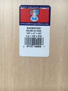 Basswood 2.4x100x610mm (3 pieces)