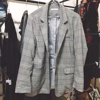 韓版 格紋 西裝 外套