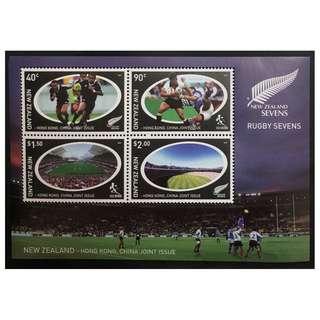 紐西蘭香港對賽紀念郵票 全新
