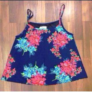 Floral top navy blue