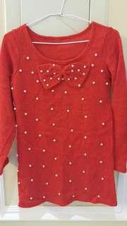 🚚 紅色珍珠長袖毛衣