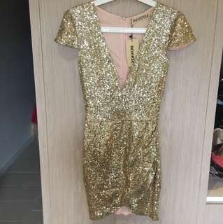 Gold sequin party dinner dress
