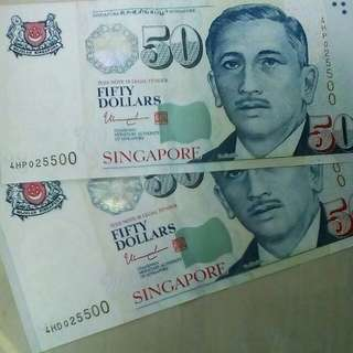 Identical numbers - 50 dollars notes