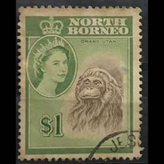 Malaya North Borneo $1 Queen Eliz used