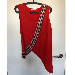 """SASS & BIDE: """"Silk Slices"""" Top – Red Coral WORN ONCE!"""