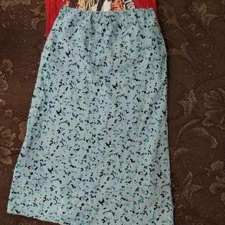 A line middle skirt/rok karet