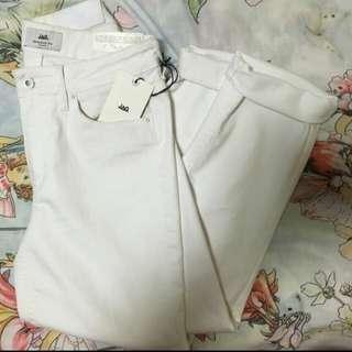 ZAG White Straight Cut Slim Jeans/pants