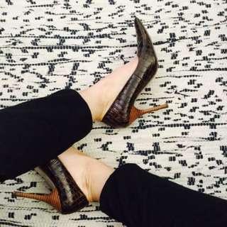Therapy brown snake skin look heels