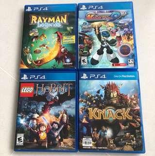 PS4 - Kids Games Rayman Hobbit Knack Megaman