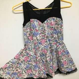 韓貨 馬甲型花朵洋裝