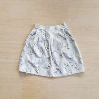 Light Blue Floral Skirt pocketed