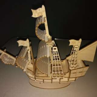 Wooden Ship Statue