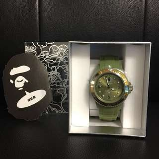 A Bathing Ape 橄欖綠色RUBBER CLEAR BAPEX 腕錶🐵⌚️