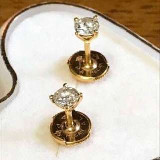Gold & Diamond Stud Earrings