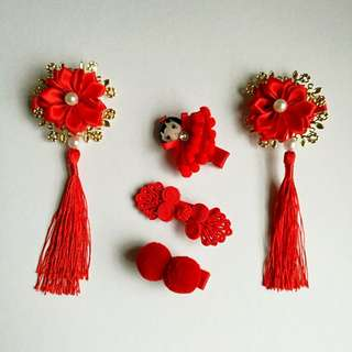 Baby / Toddler Hair Clips Set ~ Red