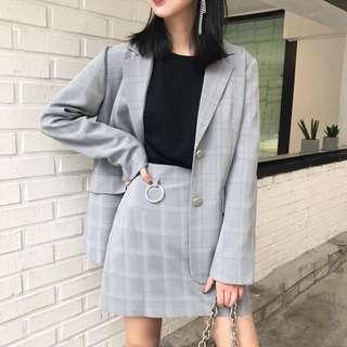 Grey plaid blazer