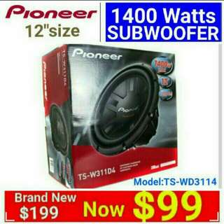 "Pioneer 12"" subwoofer 4ohm voice coil speaker 1400 watts Peak with  Usual Price: $199 Special.offer: $99. (Brand new & Sealed). Whatsapp 85992490  to pick up today."
