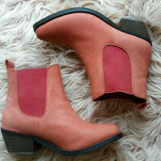 Pink Leather Boots 38