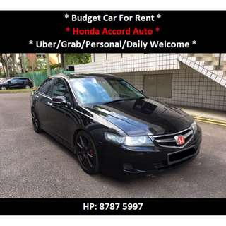 Sporty Honda Accord Auto For Rent - Daily / Uber / Grab Welcome