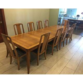 10 Seater Dining Table and Chairs + Extenders