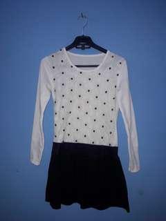 Dress bunga black n white